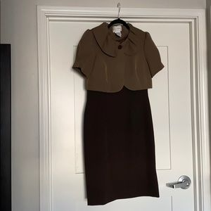 Two Piece Brown Tailored Dress with Cropped Jacket